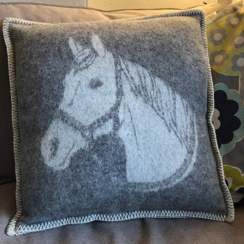 Grey Pure New Wool Horse Head Cushion