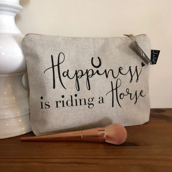 "Linen Makeup Bag with the slogan ""Happiness is riding a Horse"""