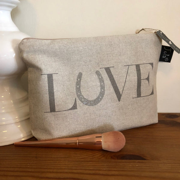 "Linen Makeup Bag with ""LOVE"" printed on"