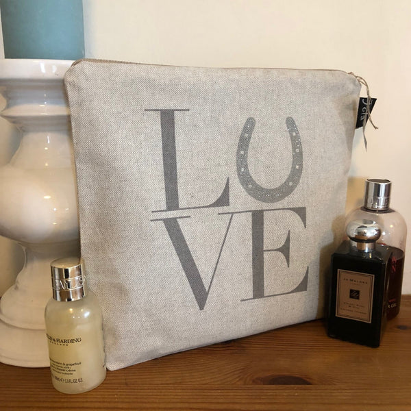 "Linen Washbag with ""LOVE"" printed on"