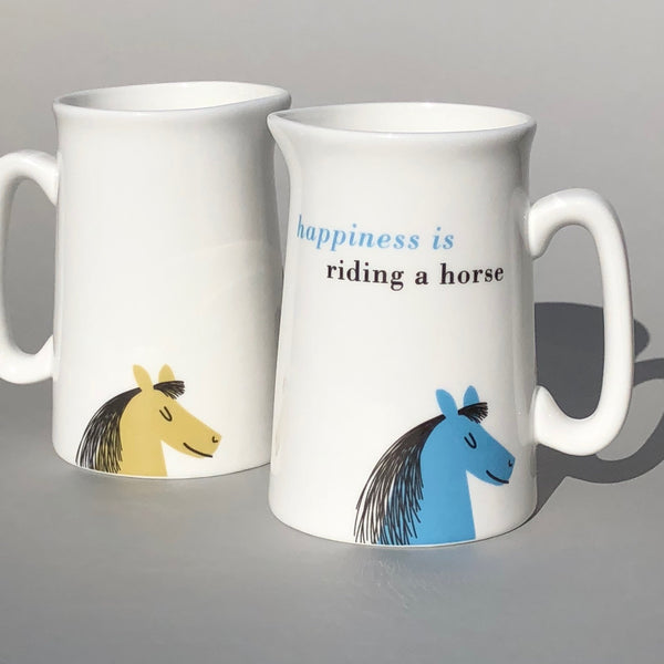 'Happiness is riding a horse' Bone China Jug in Sky Blue