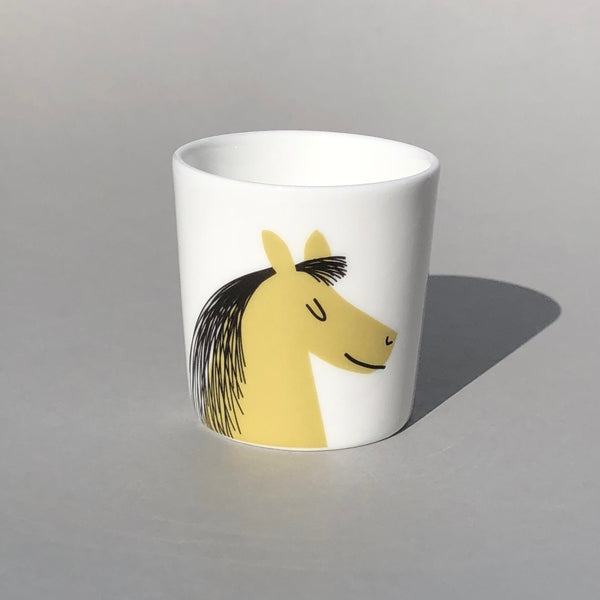 White Egg Cup with Olive Horse Head