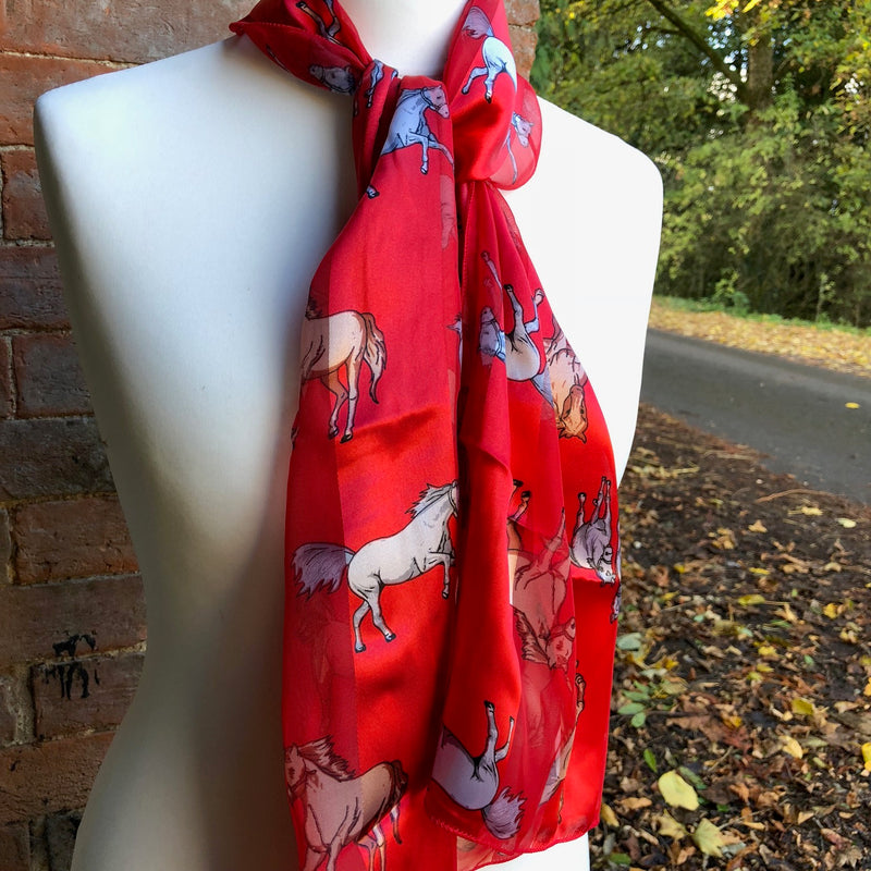 Red Satin Stripe Horse Scarf