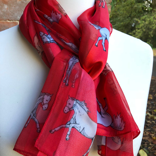 Red Satin Scarf with faded stripe pattern and white horses