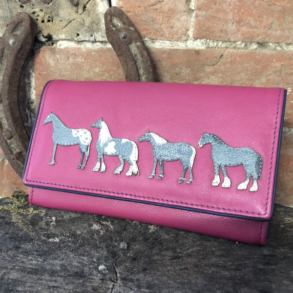Large pink Mala leather purse with 4 horse images stitched on the front