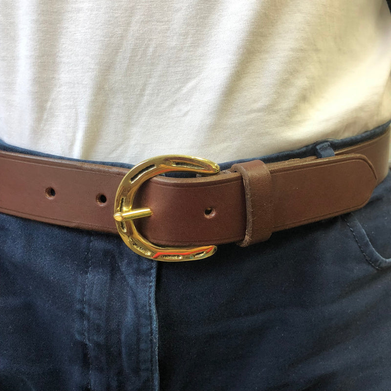 English Brown Leather wth Gold Horseshoe Buckle Belt