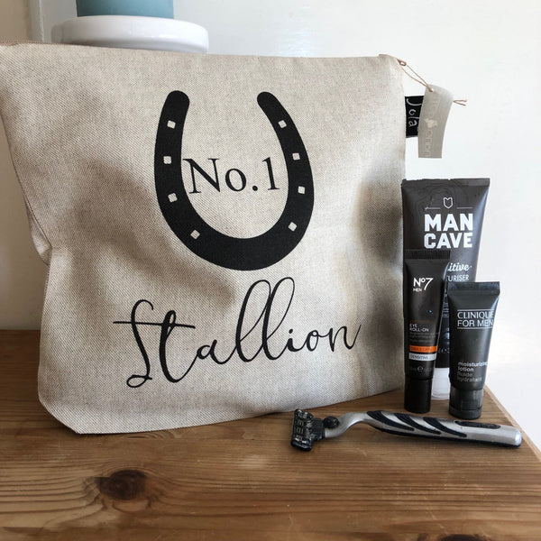 """No.1 Stallion"" Linen Washbag"