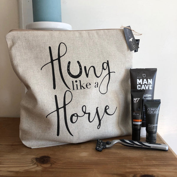 "Linen Washbag with slogan ""Hung like a Horse"""