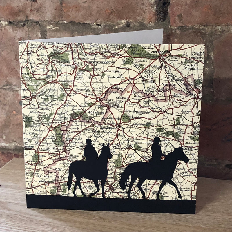 Riding over Badminton Vintage Map Card