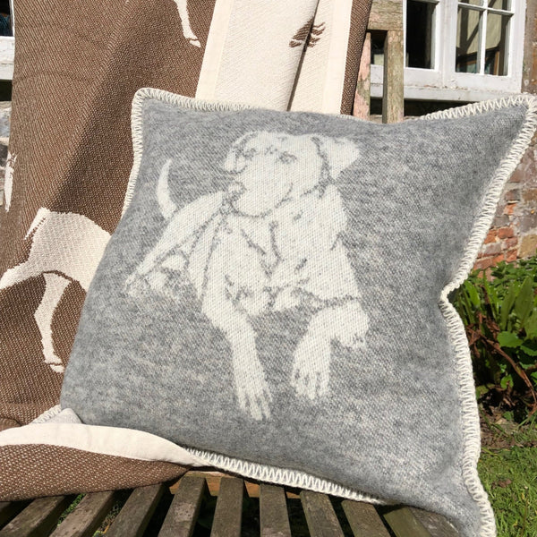 Grey New Wool Dog Cushion