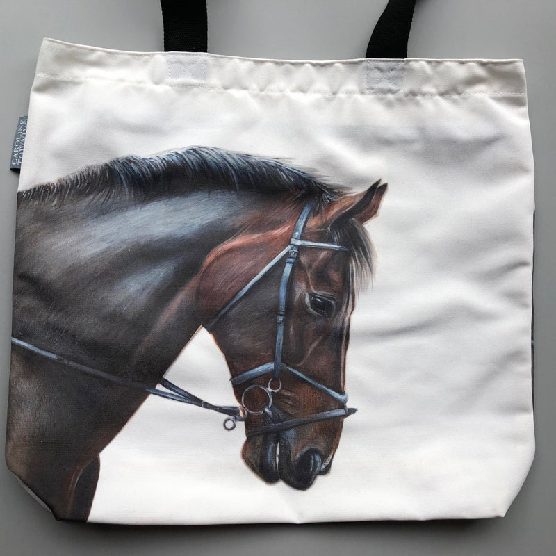 Cream Bay Horse Tote Bag with black handles