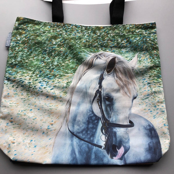 Grey horse on a green watercolour background on a tote bag