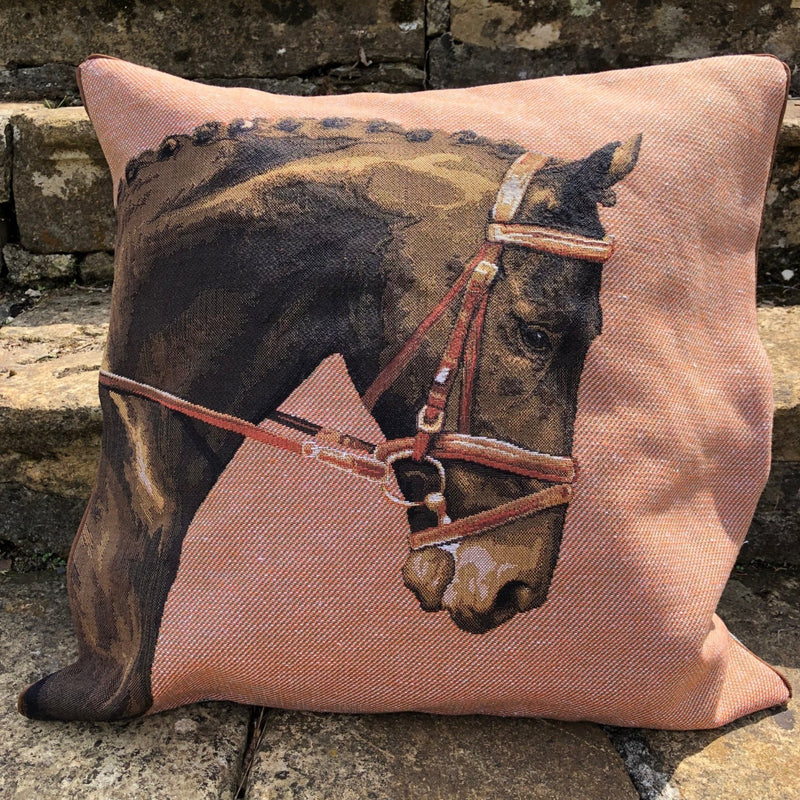 Burnt Orange Tapestry Horse Cushion