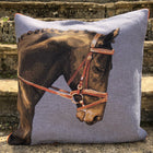 Blue Tapestry Horse Head Cushion