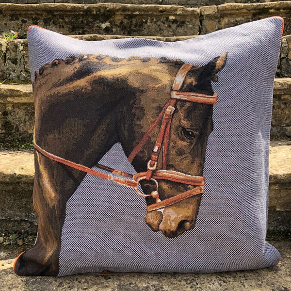 Blue Tapestry Horse Cushion
