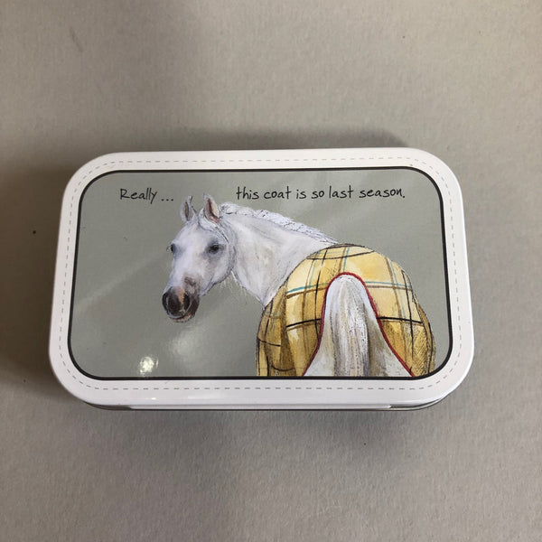 Hinged Tin of Mints 'Really..this coat is so last season' with white horse image wearing a coat