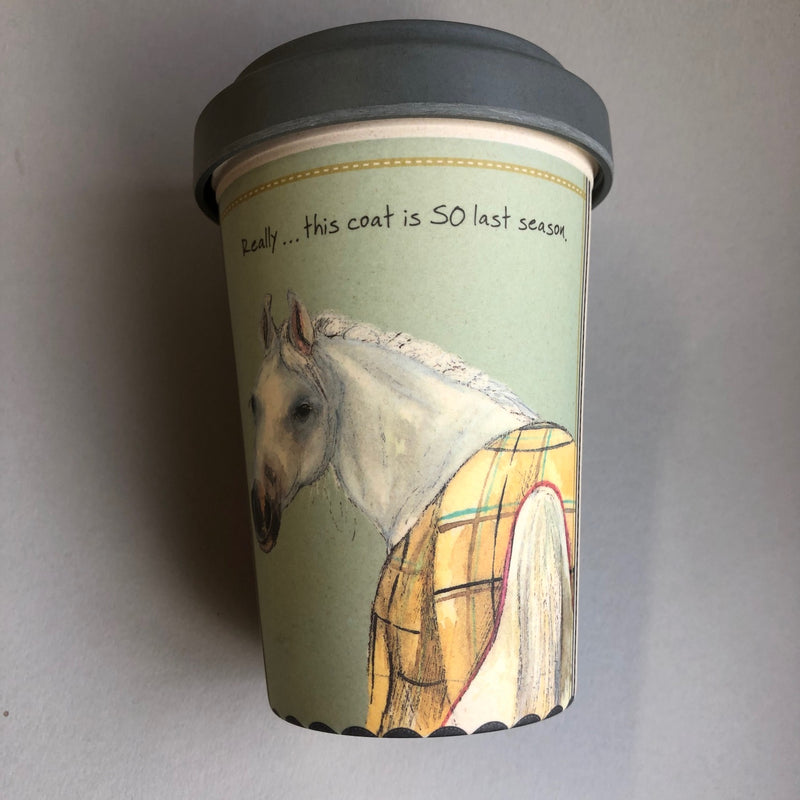 Mint Green Travel Mug with black lid 'Really..this coat is so last season' white horse image wearing a rug