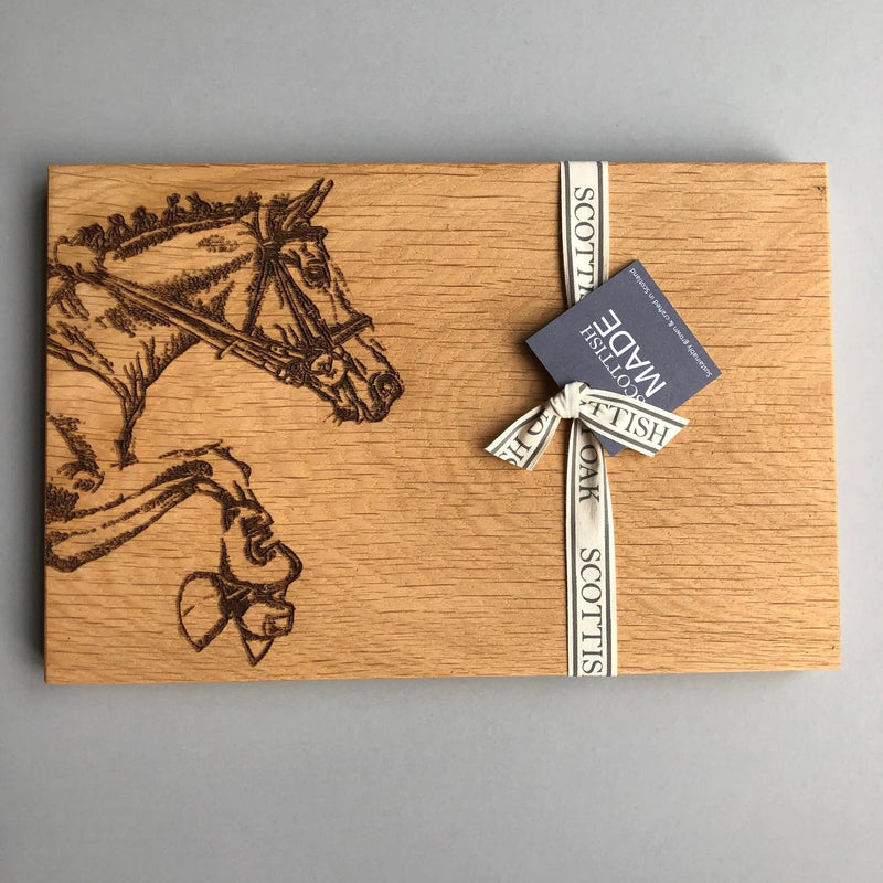 Oak Chopping Board with picture of horse carved in