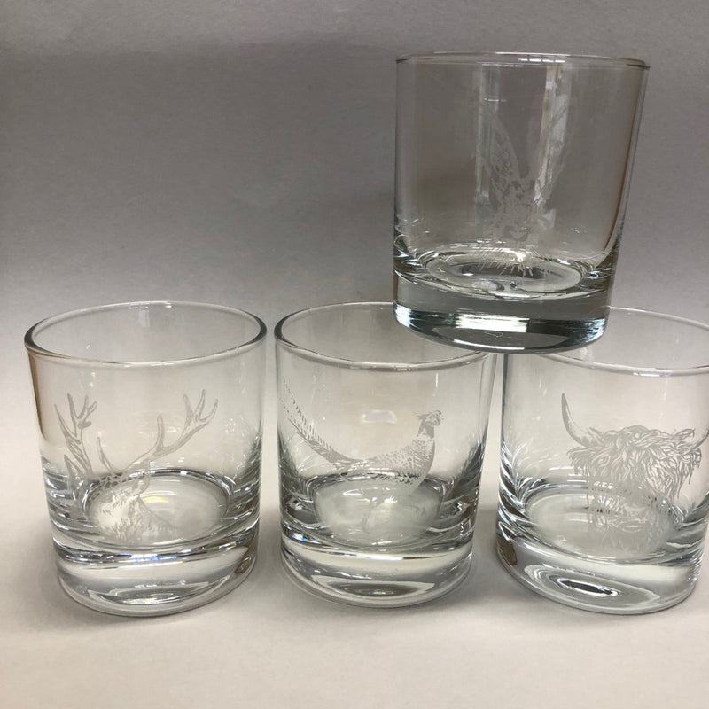 "Engraved ""Country Animals"" Glass Tumbler Set"