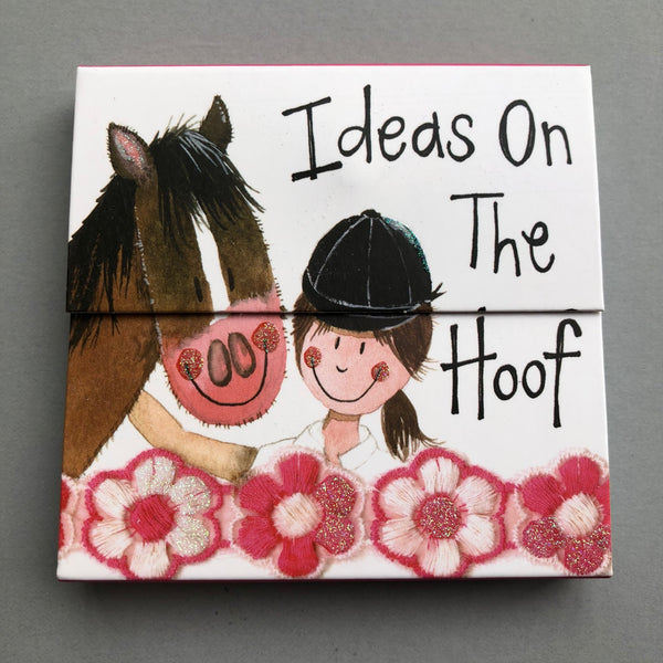 Magnetic note pad with horse and rider image and 'ideas on the hoof' slogan