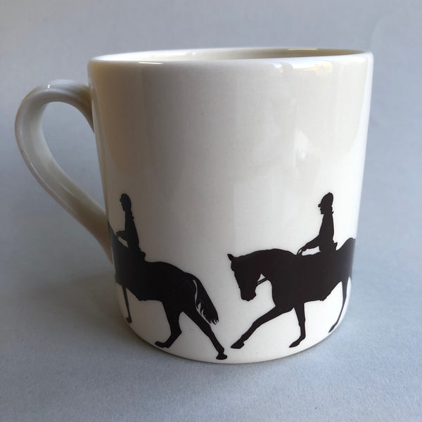 Creamware Mug with Dressage Horse & Rider print round the base