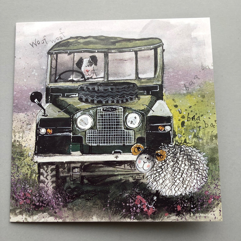 Landrover Print Greeting Card with a dog and a sheep