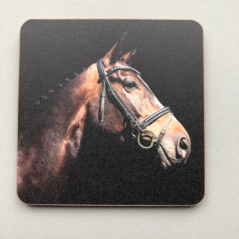 Black Coaster with image of horse printed on