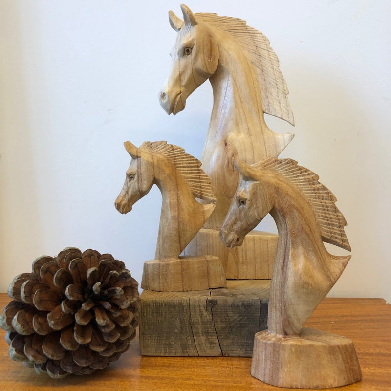 Natural Wooden Horse Head