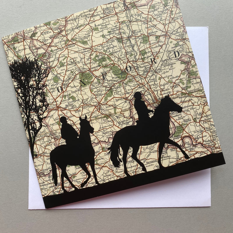 Riding over Oxfordshire Vintage Map Card