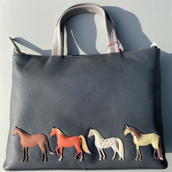 Best Friends Horses Leather Handbag