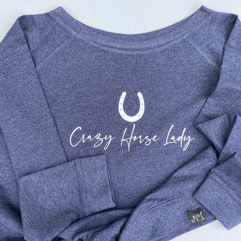 """Crazy Horse Lady""  Off the shoulder Sweatshirt"