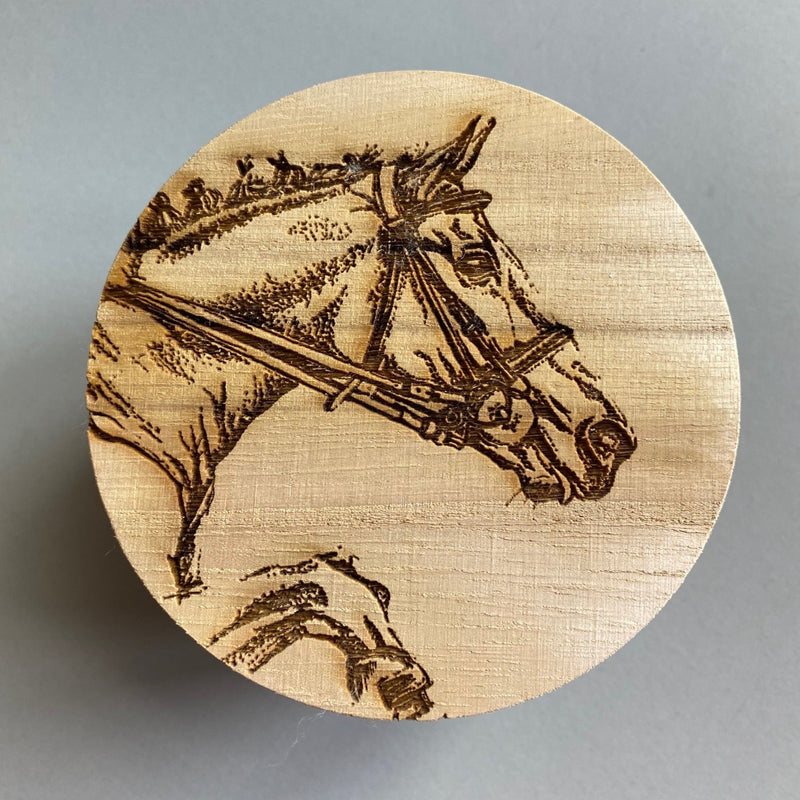 Scented Candle with Etched Horse Lid