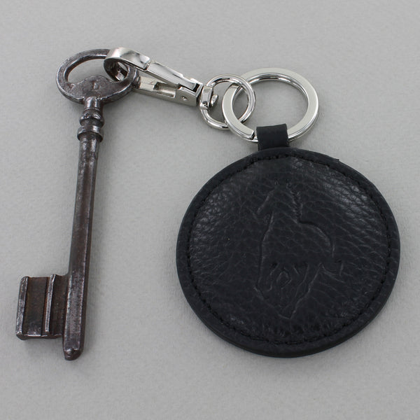Black Leather Round Keyring with Horse silhouette stitched in.