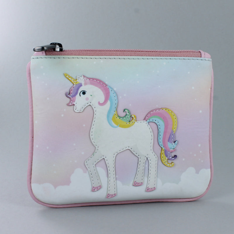 Pink zip top coin purse with unicorn stitched on the front