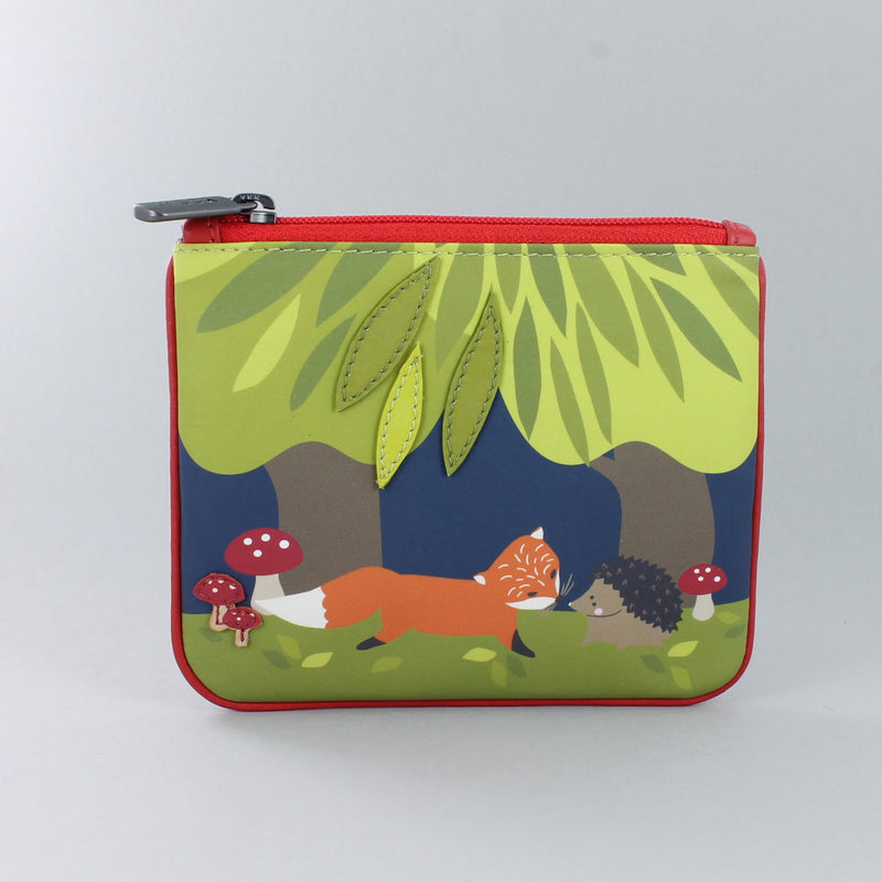 Leather Fox and Hedgehog purse with zip top
