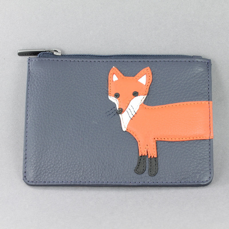 Leather zip top purse with the face of a fox on the front, wrapping round to its tail on the back