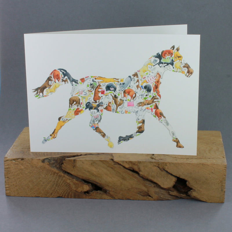Horse image filled with other horses on a white greeting card