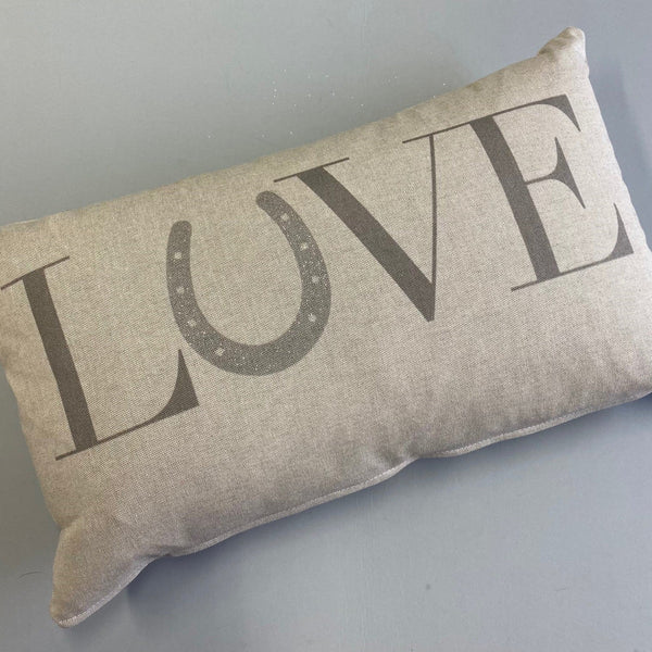 """LOVE"" Linen Horseshoe Cushion"