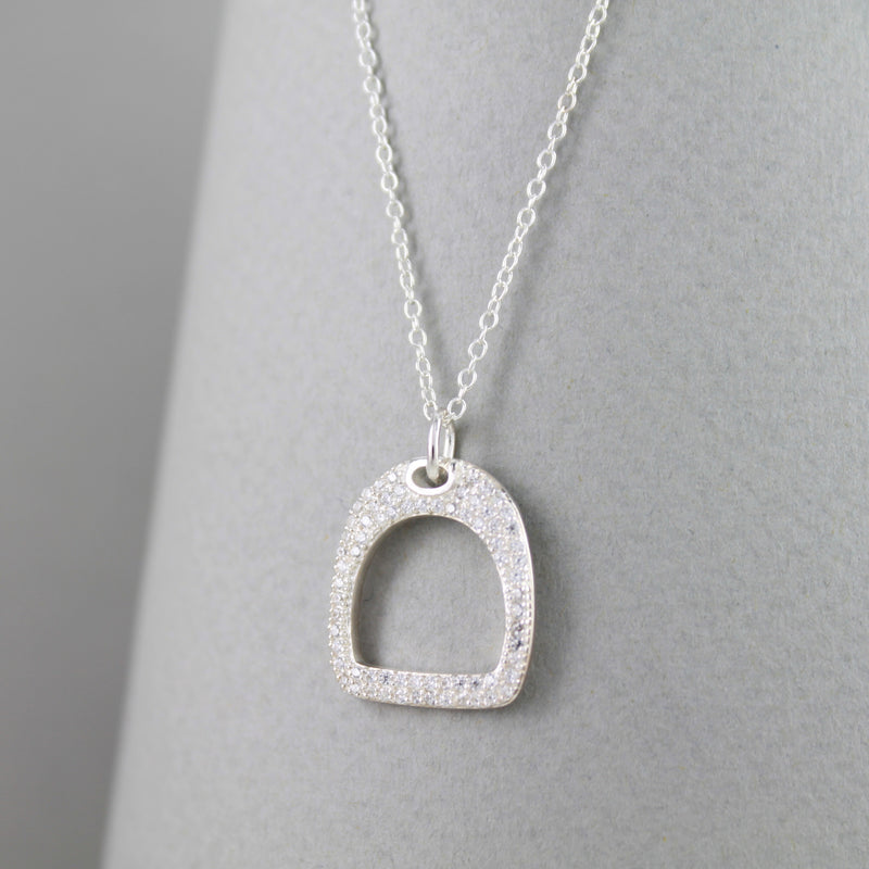 Sterling Silver Stirrup Necklace with Pavé Detail