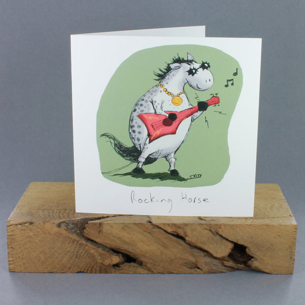 White greeting card with image of a horse in a rock band