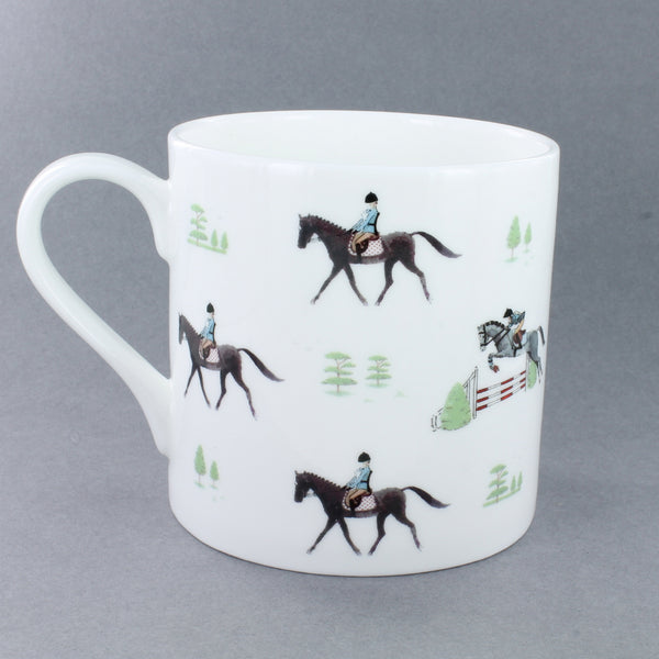 White bone china mug with horse and rider prints all the way round