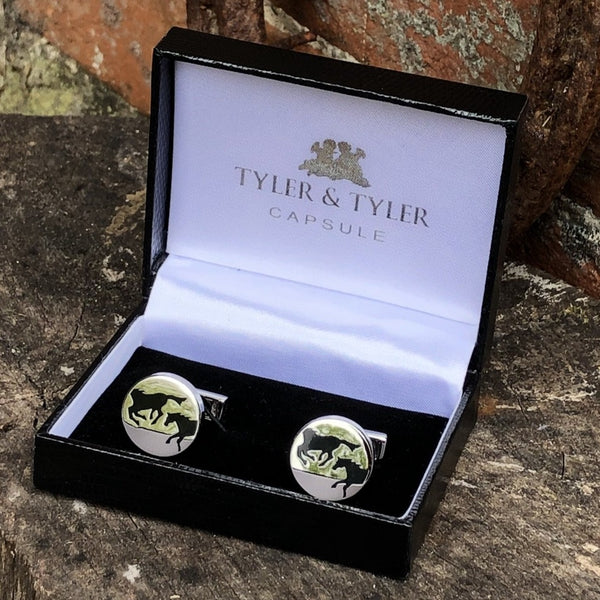 Tyler & Tyler Capsule Cufflinks with Galloping Horse Image. Presented in Tyle & Tyler Capsule Box