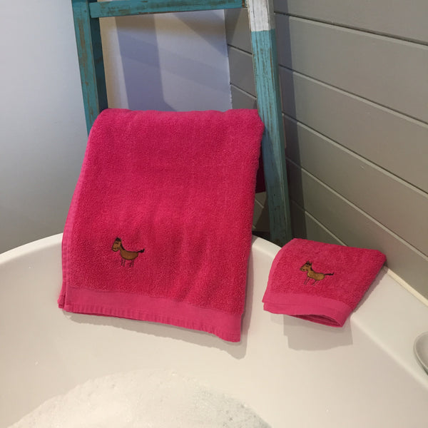 Pink Horse Towel and Flannel Set