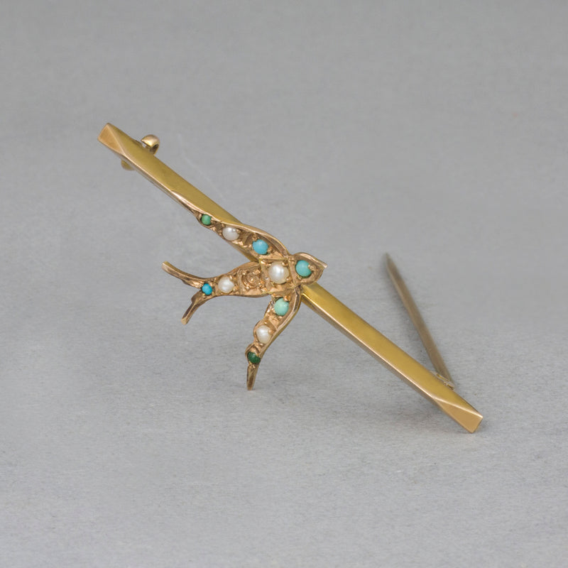 9 ct Gold Seed Pearl & Turquoise 'Swift' Vintage Stock Pin/Brooch