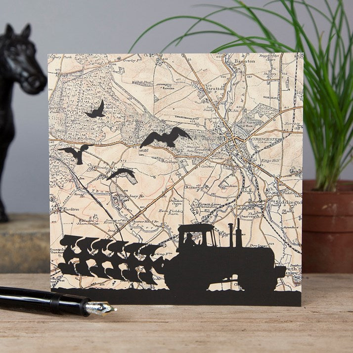 Farming Vintage Map Greeting Card