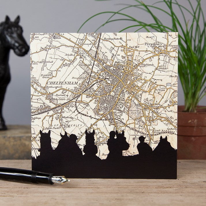Cheltenham Races Vintage Map Card