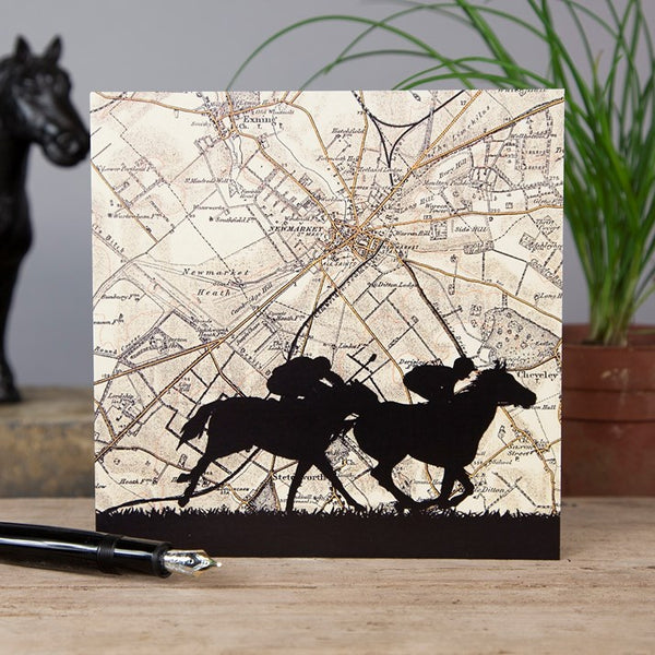 Newmarket Horse Racing Map Card with horse racer silhouettes at the forefront
