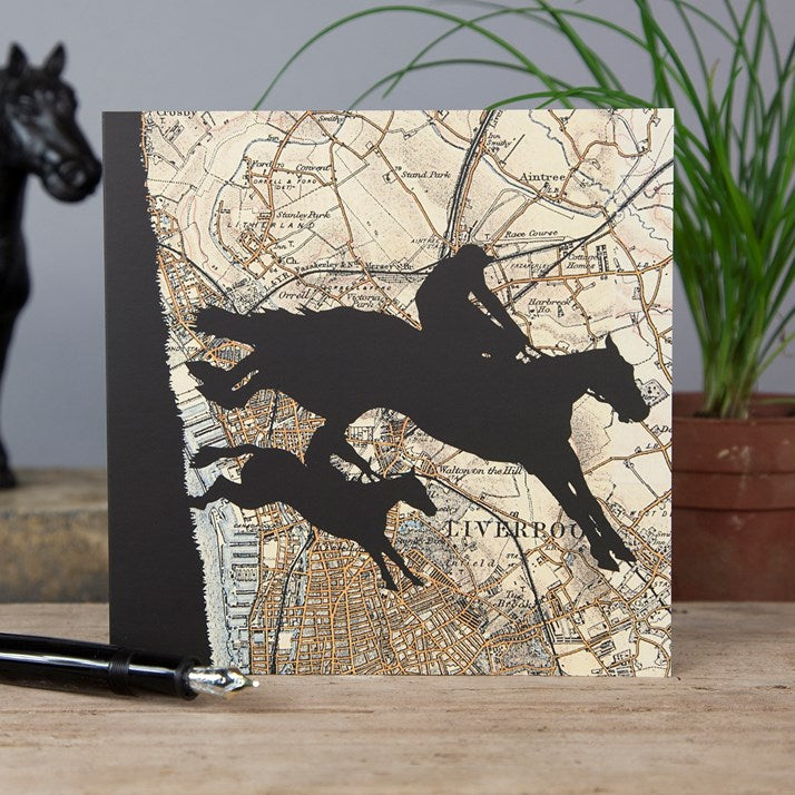 Grand National Horse Racing Vintage Map Card with silhouette of horse and rider on front
