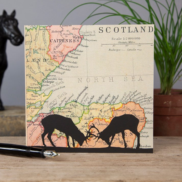 Vintage Map Card of Scotland with 2 Scottish Stag silhouettes at the forefront