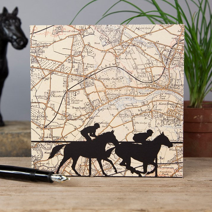 Kempton Horse Racing Map Card with silhouette racers at the forefront